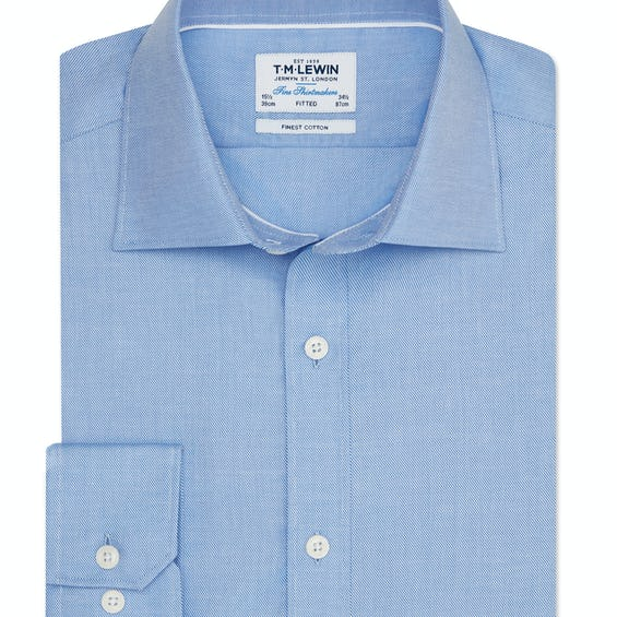 Twill Fitted Blue Shirt 0