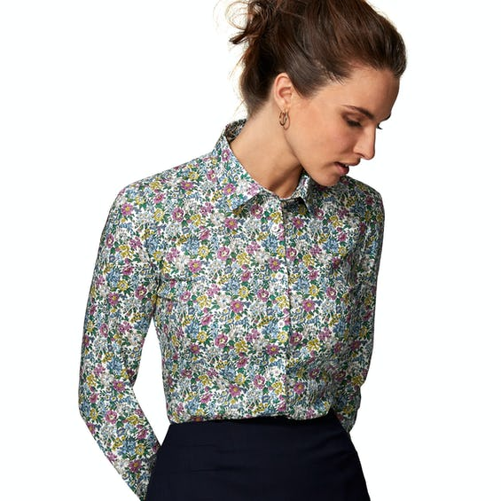 Made with Liberty Fabric Fitted Green Honeydew Shirt 0