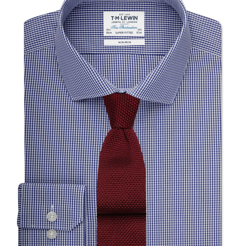 Non-Iron Super Fitted Navy Gingham Poplin Shirt 0