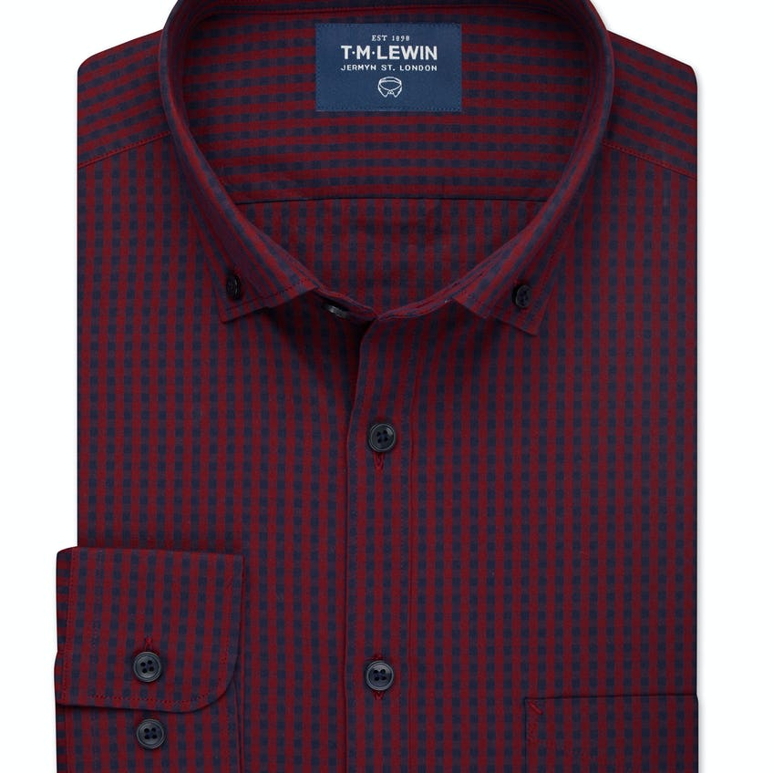 Slim Fit Navy and Red Gingham Shirt 0