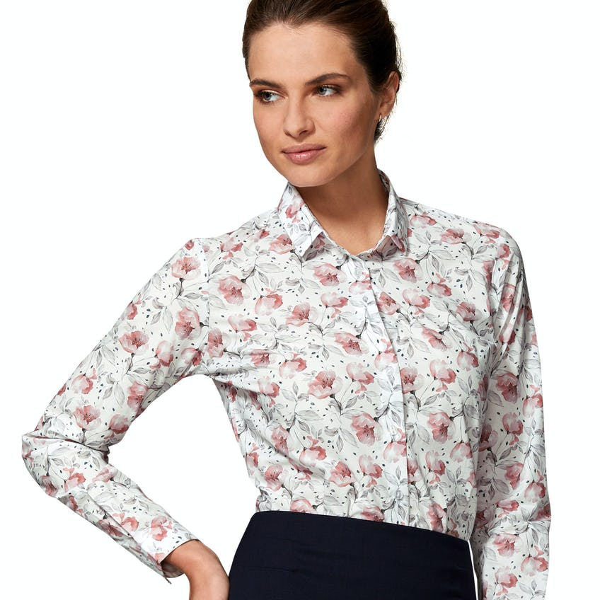 Semi Fitted Pink and Grey Blossom Floral Shirt 0