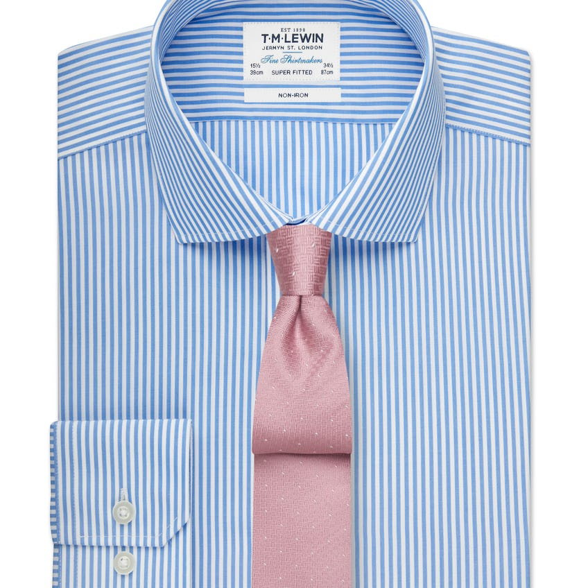 Non-Iron Super Fitted Blue Stripe Shirt 0