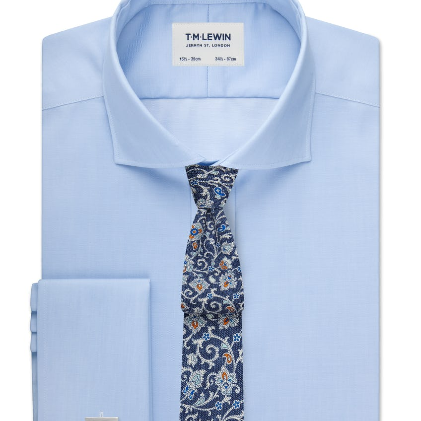 Max Performance Fitted Blue Double Cuff Shirt 0