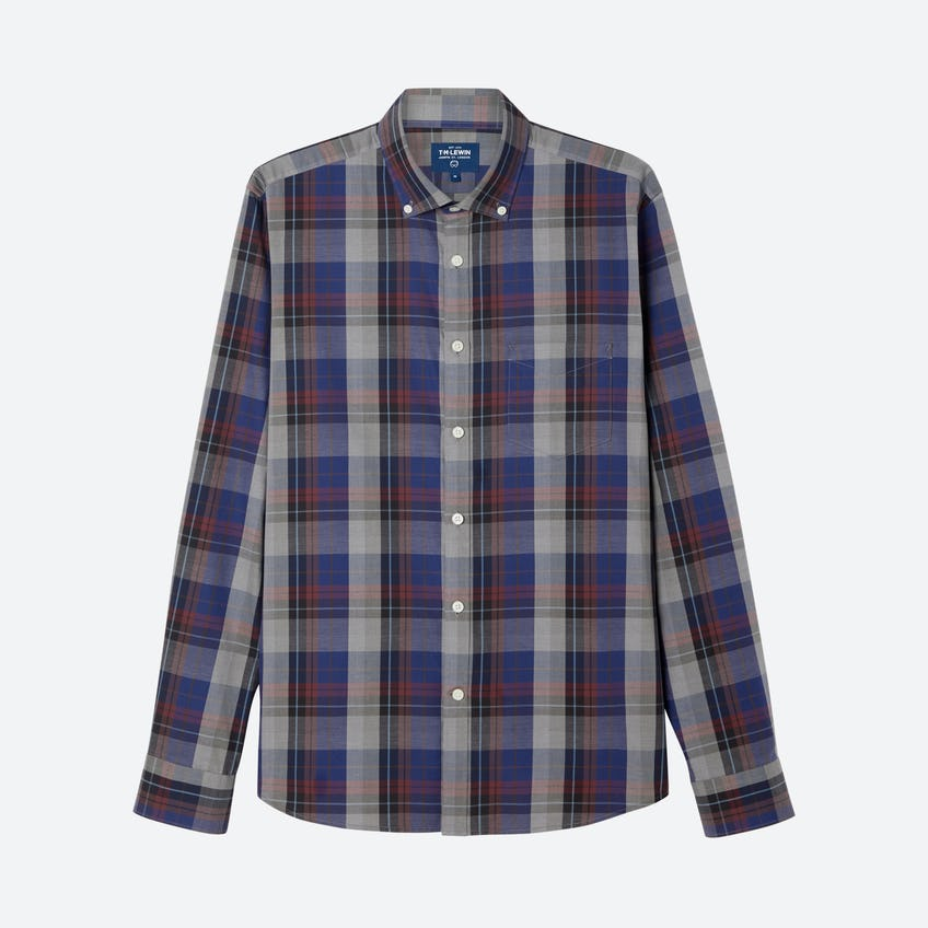 Large Check Slim Fit Navy Red Shirt 0