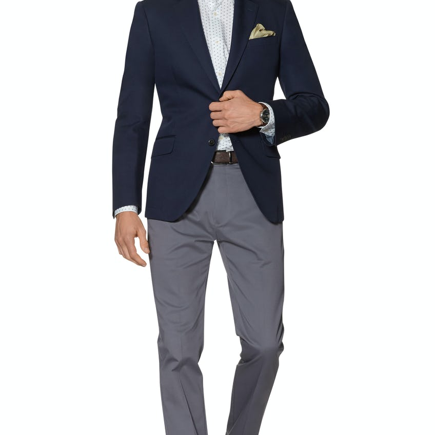 Royal Ascot Galileo Slim Fit Blazer in Navy Cotton and Linen 0