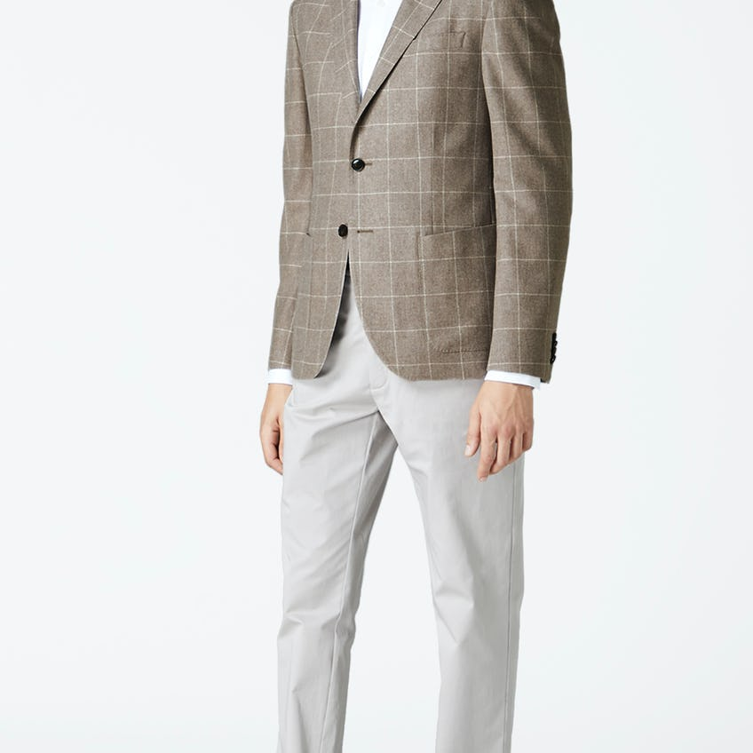 Lexington Slim Fit Neutral Windownpane Check Jacket