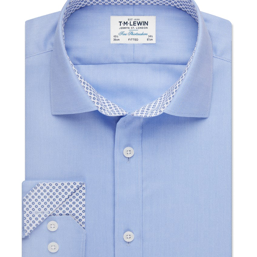 Fitted Blue Twill Shirt 0