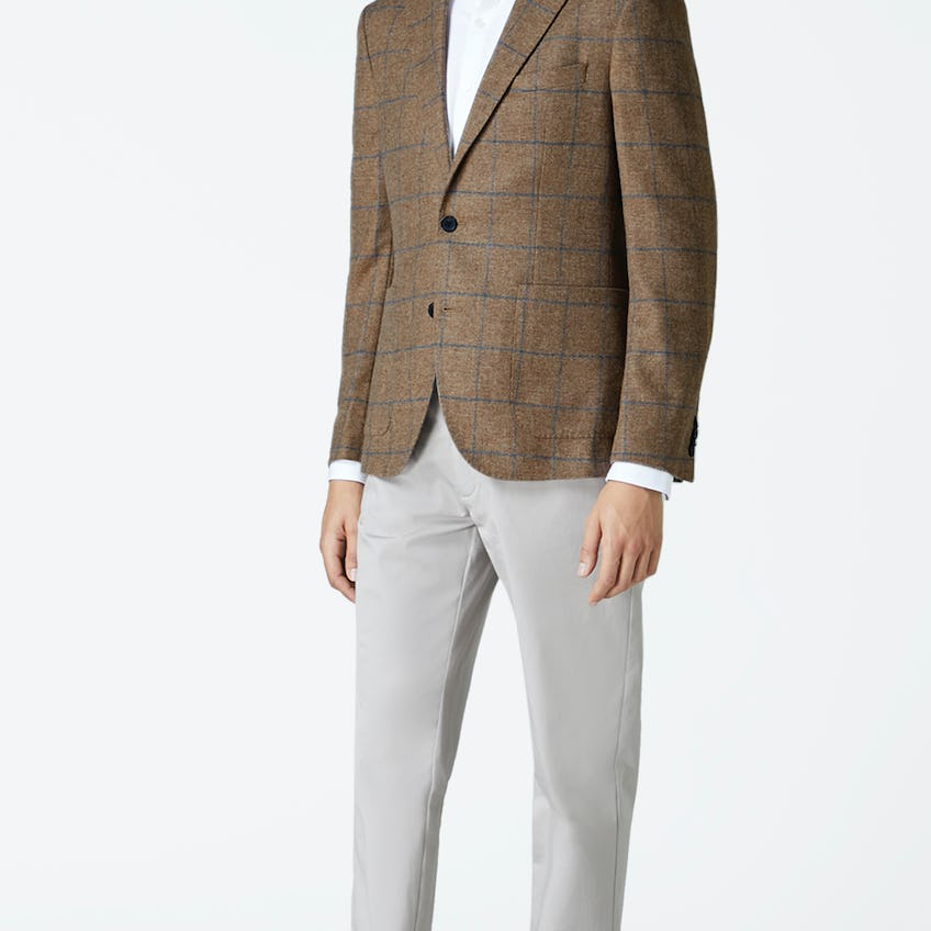 Olivier Slim Fit Jacket in Blue and Neutral Robert Noble Mill Wool Check 0