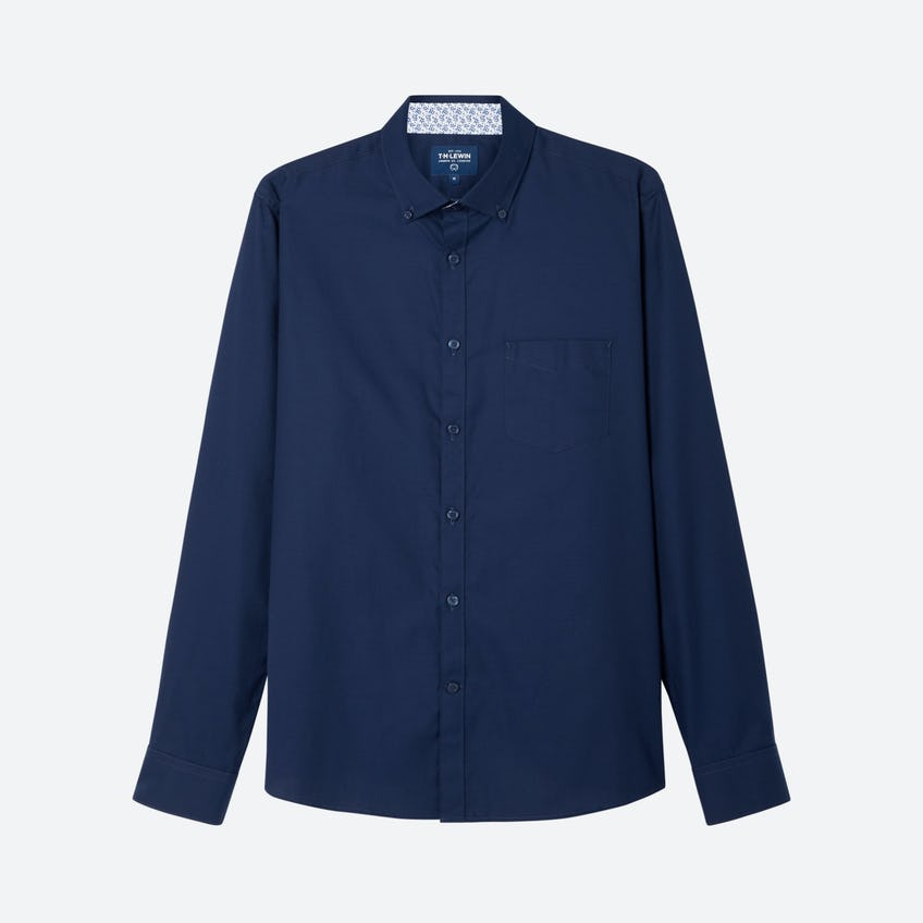 Plain Statement Twill Slim Fit Navy Shirt