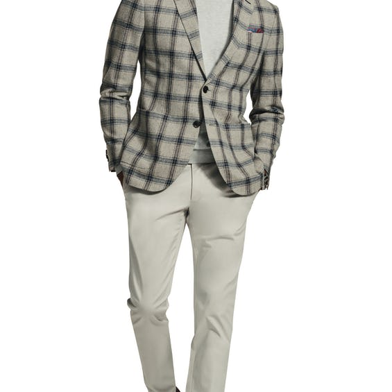 Paternoster Woven in Italy Slim Fit Navy and Oatmeal Donegal Check Jacket 0
