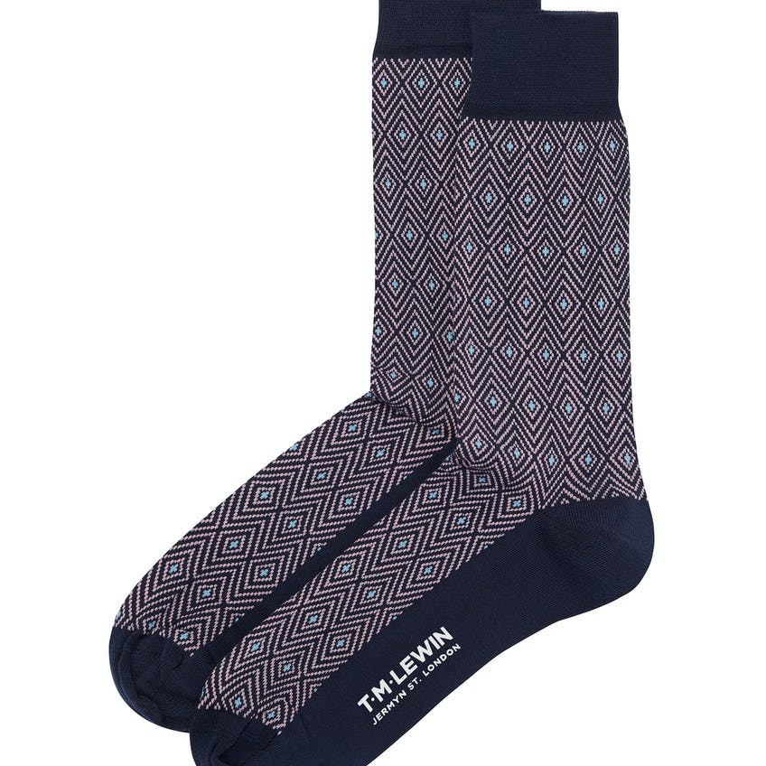Navy and Pink Aztec Socks 0