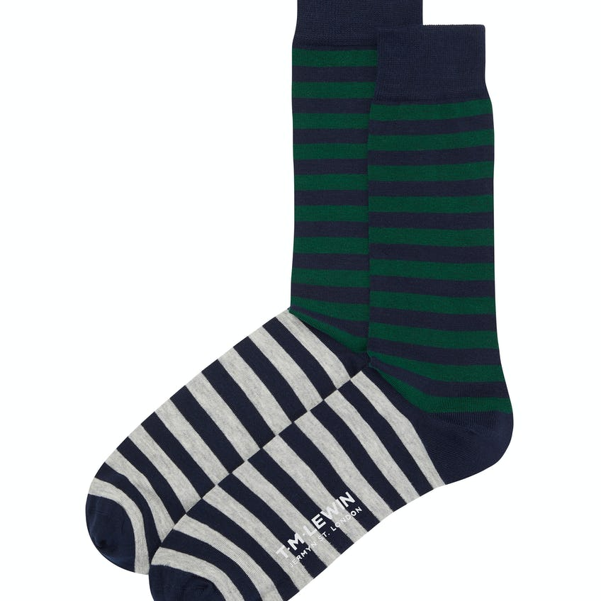 Green and Grey Double Stripe Socks 0