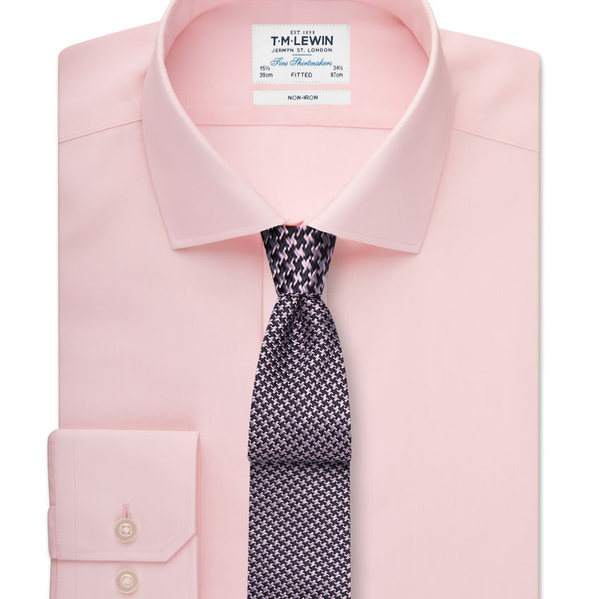 Non-Iron Fitted Pink Shirt 0