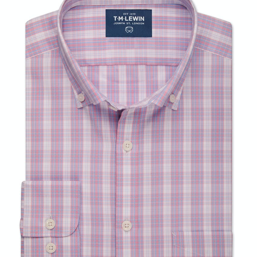 Slim Fit Pink and Blue Oxford Check Shirt 0