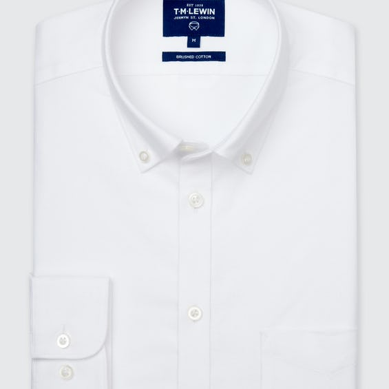 Slim Fit White Brushed Flannel Cotton Shirt 0