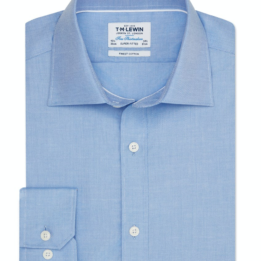 Twill Super Fitted Blue Shirt 0
