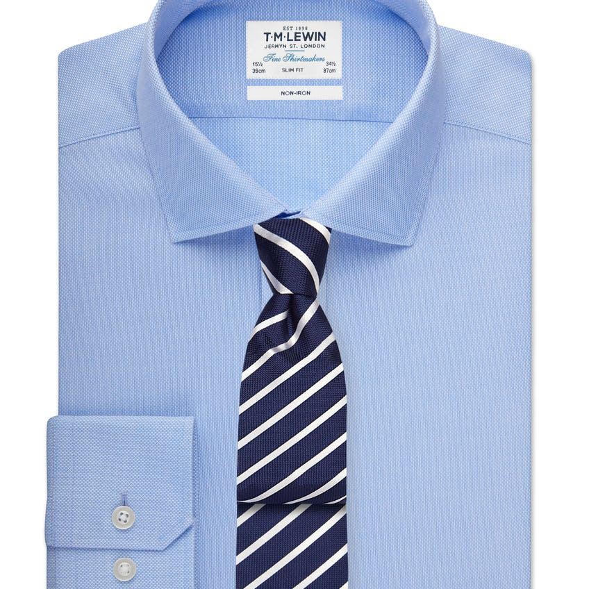 Non-Iron Slim Fit Blue Shirt