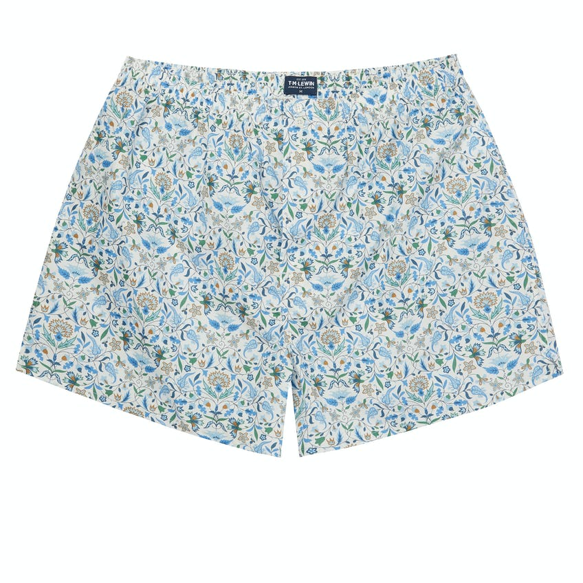 White Cotton Boxer Made with Liberty Fabric James Francis Print 0