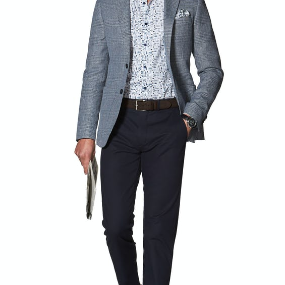 Roberto Slim Fit Jacket in Blue Cotton Linen Check 0