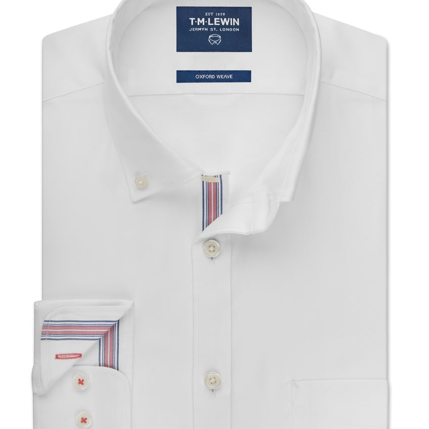 Oxford Selvedge Slim Fit White and Pink Shirt 0