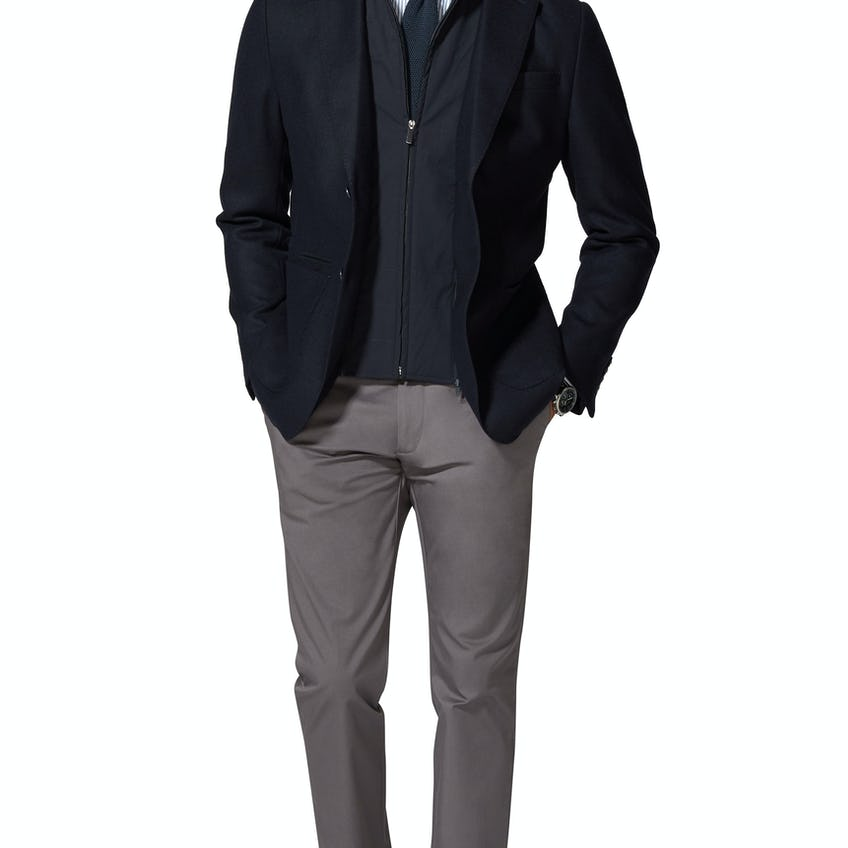 Downing Slim Fit Navy Jacket With Zip-Out Gilet 0
