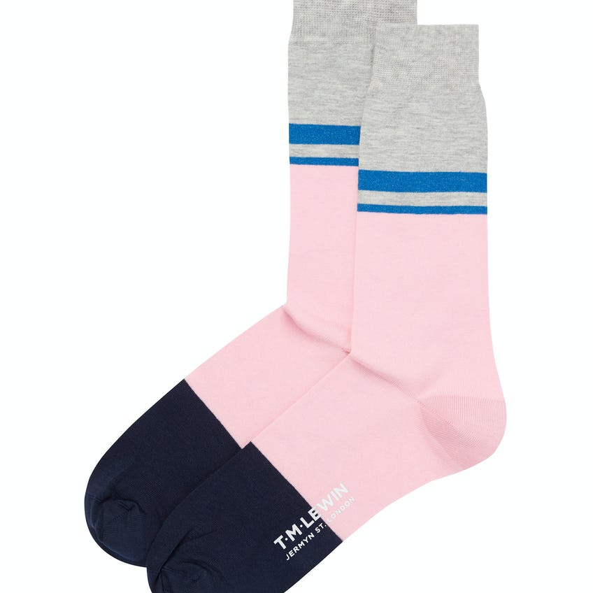 Pink and Grey Blocked Stripe Socks
