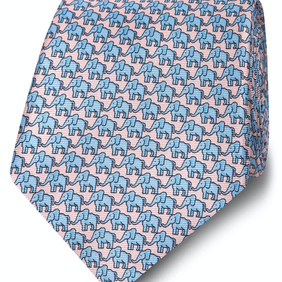 Wide Pink and Blue Elephant Print Silk Tie 0
