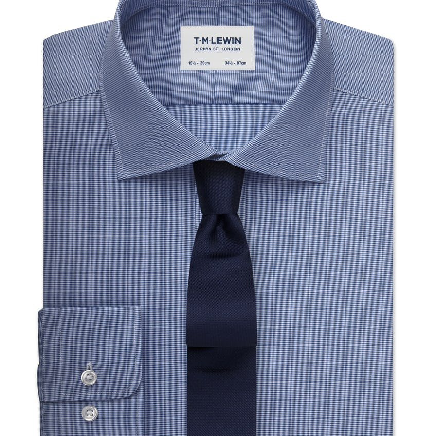 Max Performance Fitted Navy Micro Dogtooth Shirt 0