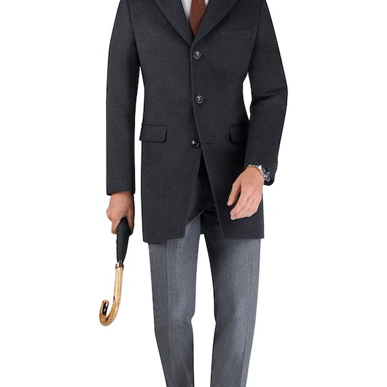 Eden Slim Fit Overcoat in Charcoal Wool Cashmere 0