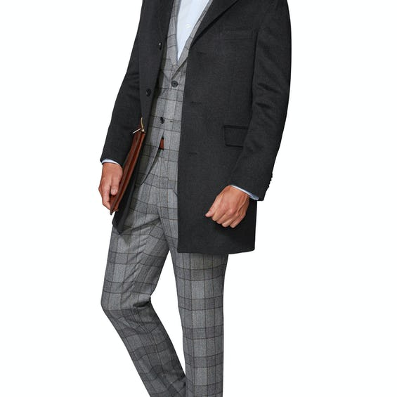 Montgomery Slim Fit Overcoat in Charcoal Wool Cashmere 0