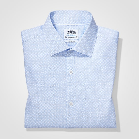 Fitted Blue Geo Print Shirt 0
