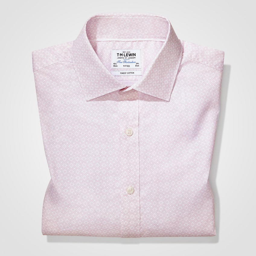 Pink Geo Print Fitted Shirt 0