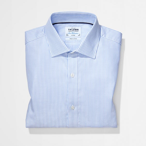 Twill Fitted Blue Striped Shirt 0