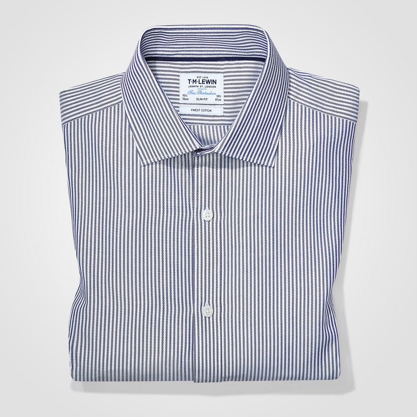 Twill Fitted Navy Striped Shirt 0