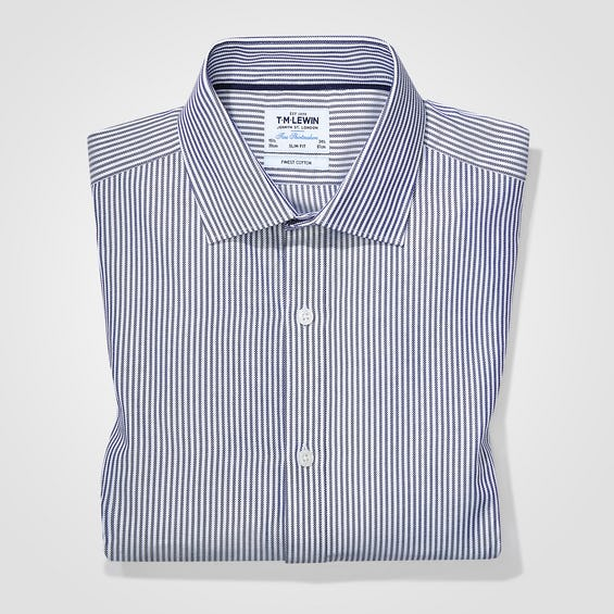 Twill Super Fitted Navy Striped Shirt 0