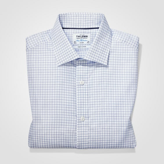 Twill Fitted Navy Checked Shirt 0