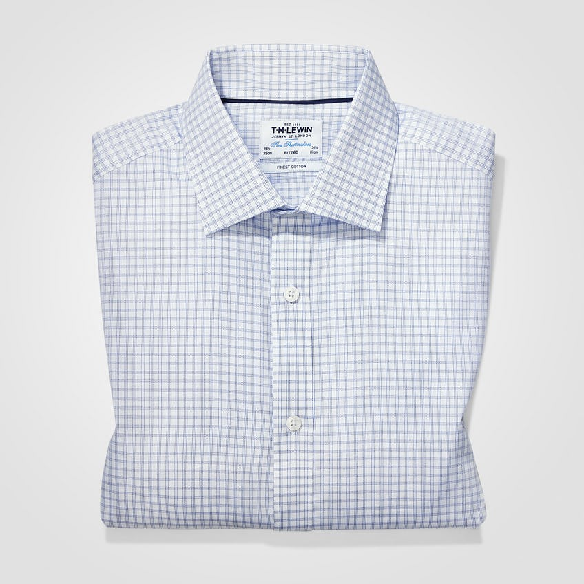 Twill Super Fitted Navy Checked Shirt 0