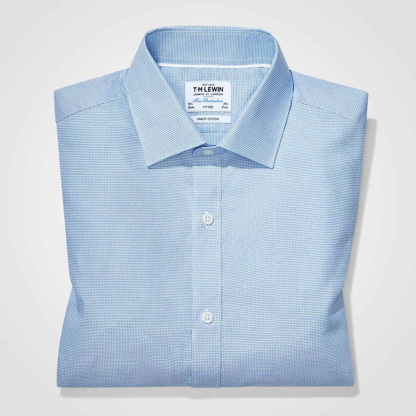 Fitted Blue Textured Oxford Shirt 0