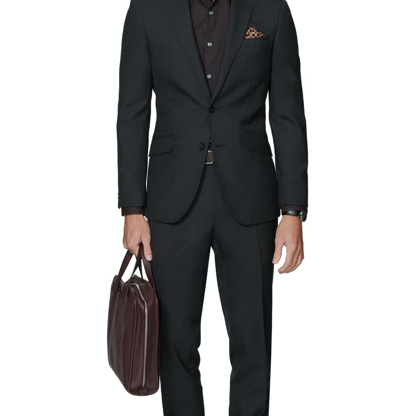 Ronnie Infinity Active Slim Fit Charcoal Suit 0
