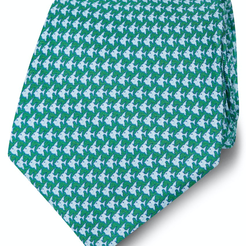 Made in Italy Wide Green and Blue Fish Silk Tie 0