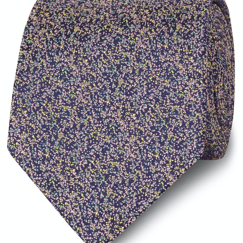 Made in England Pink and Yellow Fleck Silk Tie 0