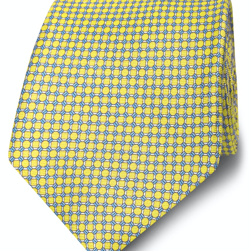 Wide Yellow and Blue Small Chain Silk Tie 0
