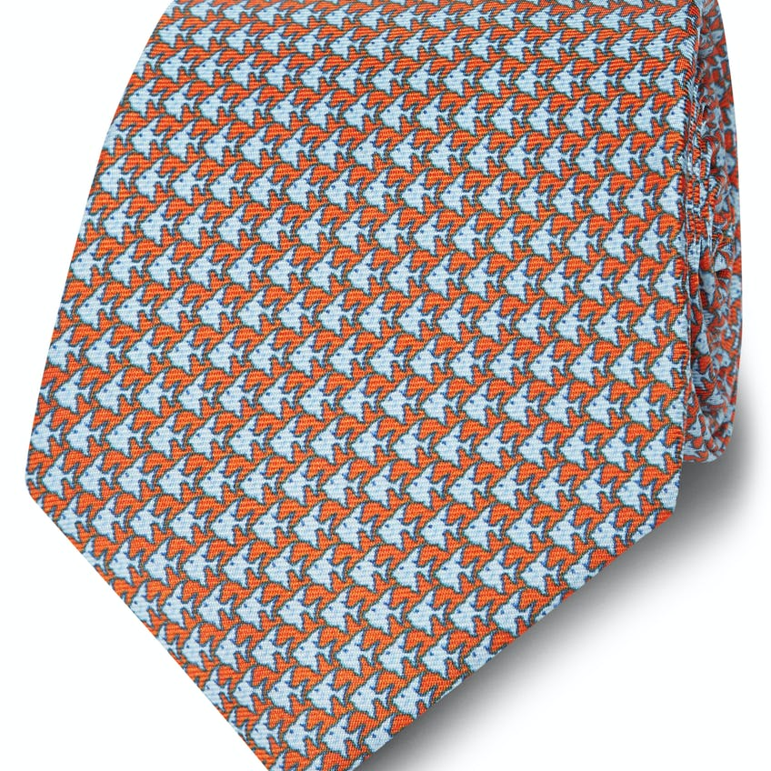 Made in Italy Wide Orange and Blue Fish Silk Tie