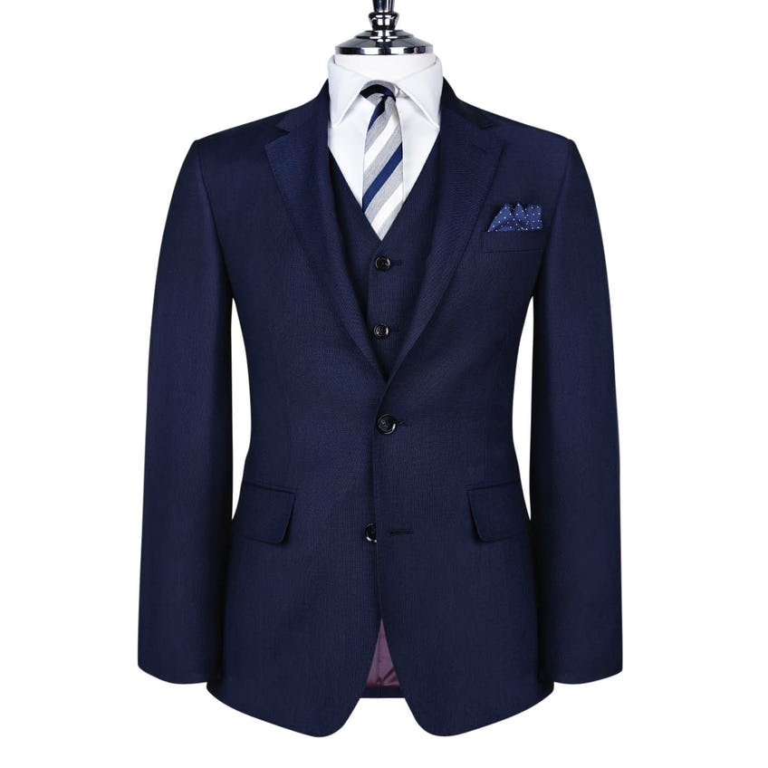 Beech Slim Fit Navy Blue Textured Weave Jacket