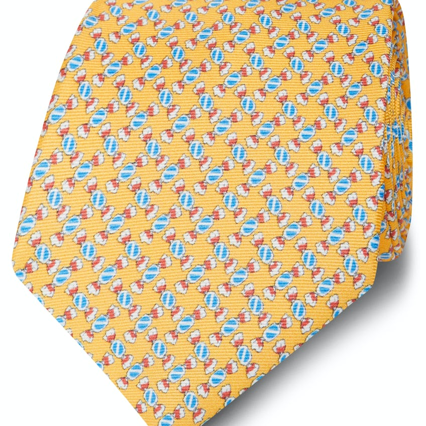 Made in Italy Wide Yellow and Blue Sweetie Silk Tie 0
