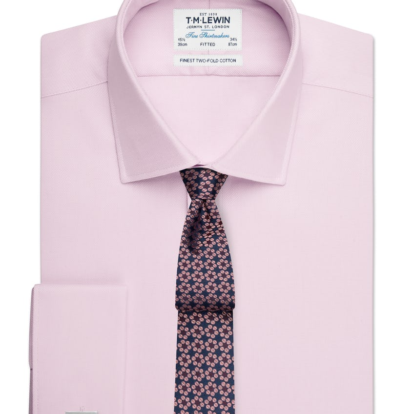 Fitted Plain Pink Luxury Twill Double Cuff Shirt 0