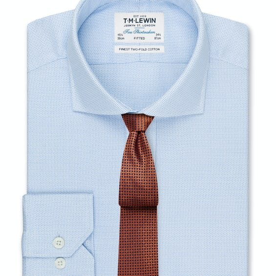 Textured Fitted Blue Dual Cuff Shirt 0