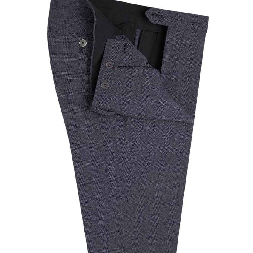 Peckham Power Stretch Skinny Fit Grey and Light Blue Check Trousers 0