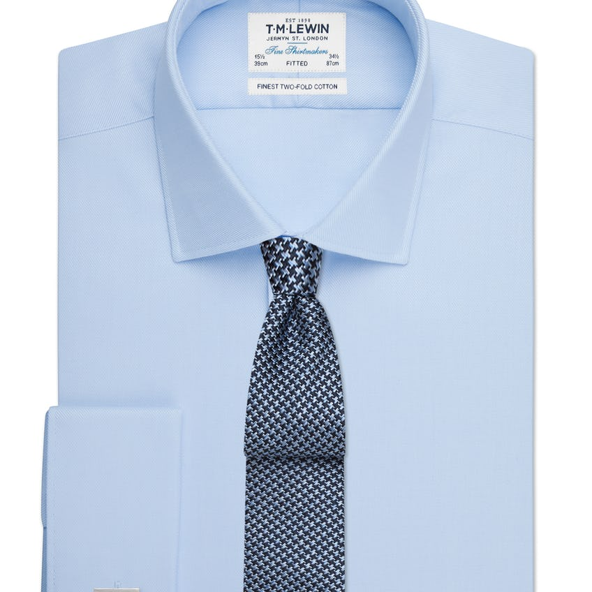 Sky Blue Twill Fitted Double Cuff Shirt