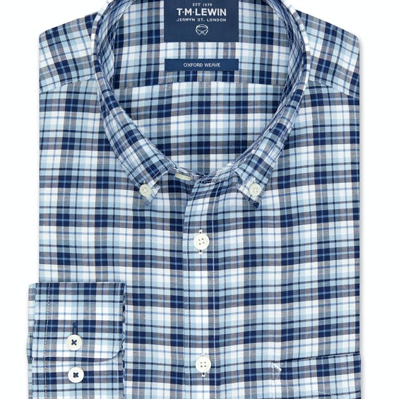 Slim Fit Navy and Blue Bold Check Shirt 0